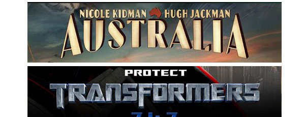 Australia and Transformers Movie Poster Fonts