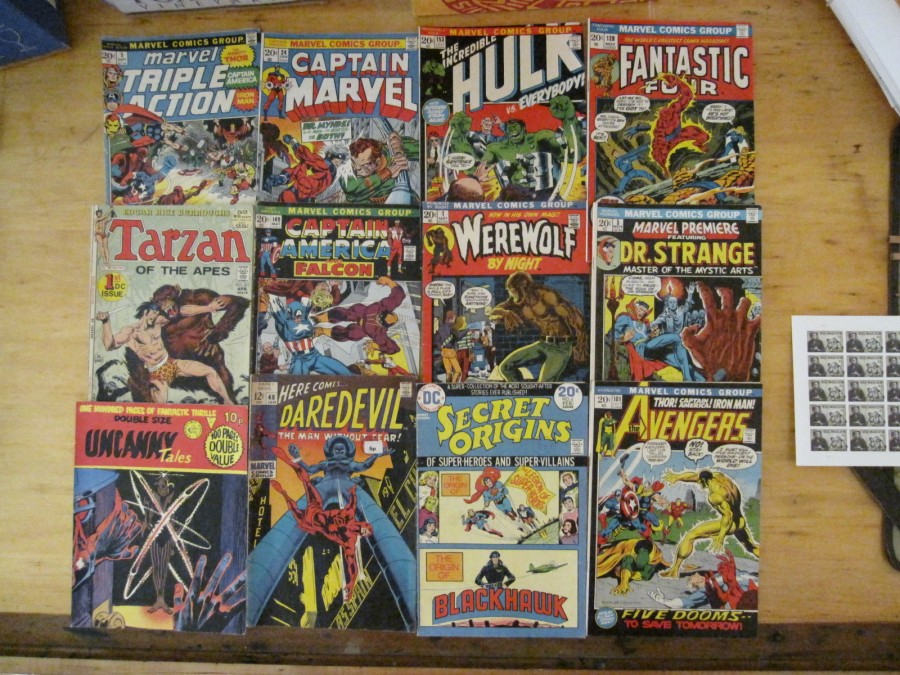 Display of Comic Books from older time periods