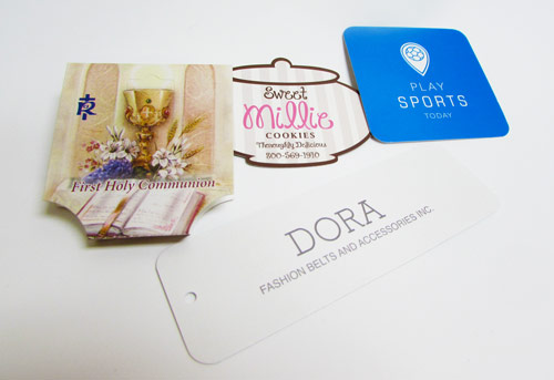 custom shape merchandise tags for products | mmprint.com