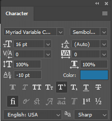 Photoshop Character Panel Settings | MMPrint.com