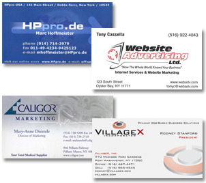 We offer One, Two, PMS, or 4 color business card printing
