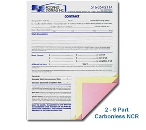 1 part, 2 part, 3 part, and 4 part NCR form printing of carbonless forms