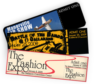 Full Color Digital Printing of Event Tickets with Fast Turnaround and Free Shipping